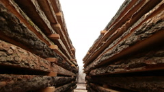 Board in the stack wood industry Stock Footage