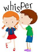 Boy whispering to the girl - stock illustration