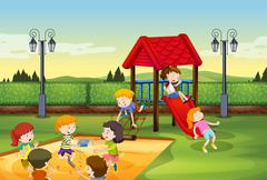 Children playing together in the playground - stock illustration