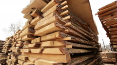Sawmill bark boards storage wood Stock Footage