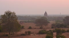 Sunrise in Bagan of Myanmar with ancient temple view panoramic shot Stock Footage