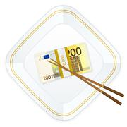 plate chopsticks and two hundred euro pack - stock illustration