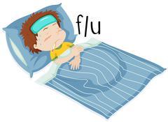Boy in bed having flue - stock illustration