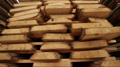 Stack pallet boards wood industry Stock Footage