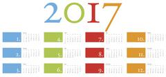 Colorful and elegant Calendar for year 2017 in vector format - stock illustration
