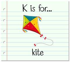 Flashcard letter K is for kite Stock Illustration