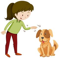 Little girl and puppy with happy face Stock Illustration