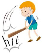 Boy with wooden stick hitting - stock illustration