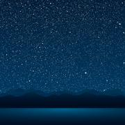 The lake, the mountains, the starry sky. Eps 10. Stock Illustration