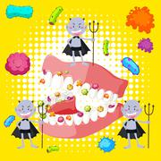 Bacteria in human mouth - stock illustration