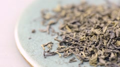 Green tea leaves in close-up Stock Footage