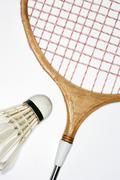 Badminton racket and shuttlecock Stock Photos