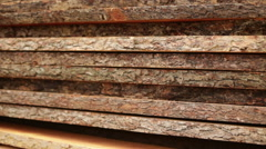 Pine boards old in logs Stock Footage