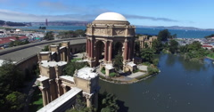 Circling around the Palace of Fine Arts Stock Footage