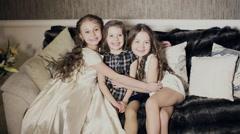 Little sisters hugging. Arkistovideo