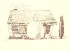 Rural landscape old house Stock Illustration