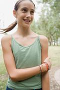 Smiling girl with brace - stock photo