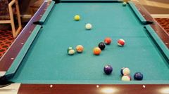 Pool Table Side Pocket Shot And Two Corner Shots Stock Footage