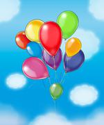 balloons on blue sky - stock illustration