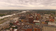 Albany Aerial over downtown Stock Footage