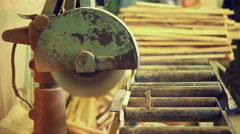 circular saw processing work tool - stock footage
