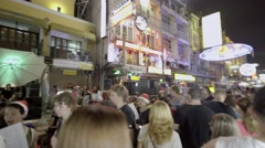 Khao San Road, Bangkok, a popular destination and night market for tourists Stock Footage