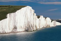 Seven sisters white chalk cliffs Stock Photos