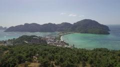 Flying over Phi-Phi island Stock Footage