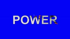 The Word Power Burning in Flames to Ashes on a Blue Screen Background - stock footage