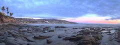 Panoramic sunset view of Main beach in Laguna Beach - stock photo