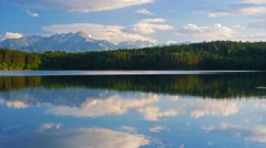 Cinemagraph. Summer nature mountain forest lake landscape, time-lapse. - stock footage