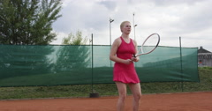 Female Tennis Player Hits The Ball With Forehand Stroke Stock Footage