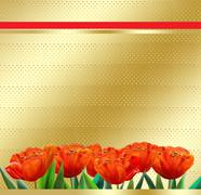 Holiday gold tulips poster Stock Illustration