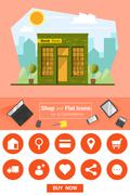 Shop and flat icons for e-commerce Book store Stock Illustration