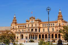 Square of Spain in Maria Luisa park , central building - stock photo
