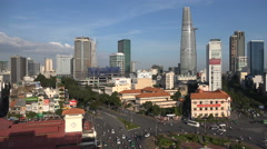 Modern skyline of Ho Chi Minh City (Saigon), the largest city in Vietnam Stock Footage