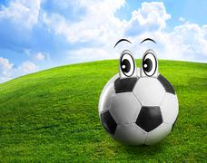 Football with eyes - stock photo