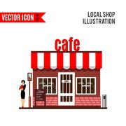 Restaurant or cafe illustration in flat style. Vector Piirros