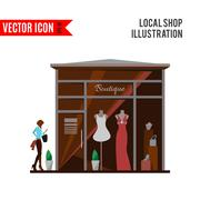 Clothing store. Man and woman vector boutique - stock illustration