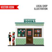 Vector bookstore mall. Books shop building - stock illustration
