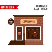 Restaurant or cafe illustration in flat style. Vector Stock Illustration