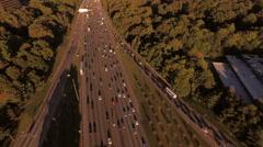 Atlanta Aerial backwards over freeway - stock footage