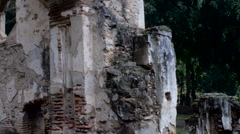 Pan and tilt of an abandoned church destroyed in an earthquake in Antigua Stock Footage
