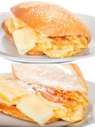 Breakfast Sandwich with Bacon and Fried Scrambled Egg. - stock photo