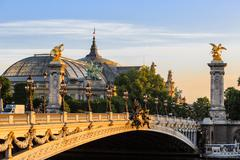 Alexander III bridge at dawn in Paris Stock Photos