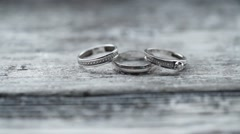 Three rings with diamonds Stock Footage