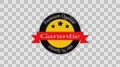 quality guarentee badge germany tricolor label 4k animation png+alpha render - stock footage