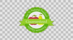 Quality product guarentee label with fruits bio 4k animation png+alpha render Stock Footage