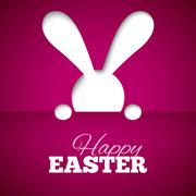 Happy easter card with hiding bunny and font on fuchsia paper background - stock illustration