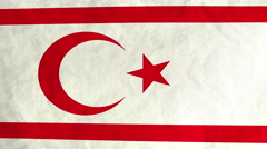 Turkish Cypriot flag waving in the wind (full frame footage) Stock Footage